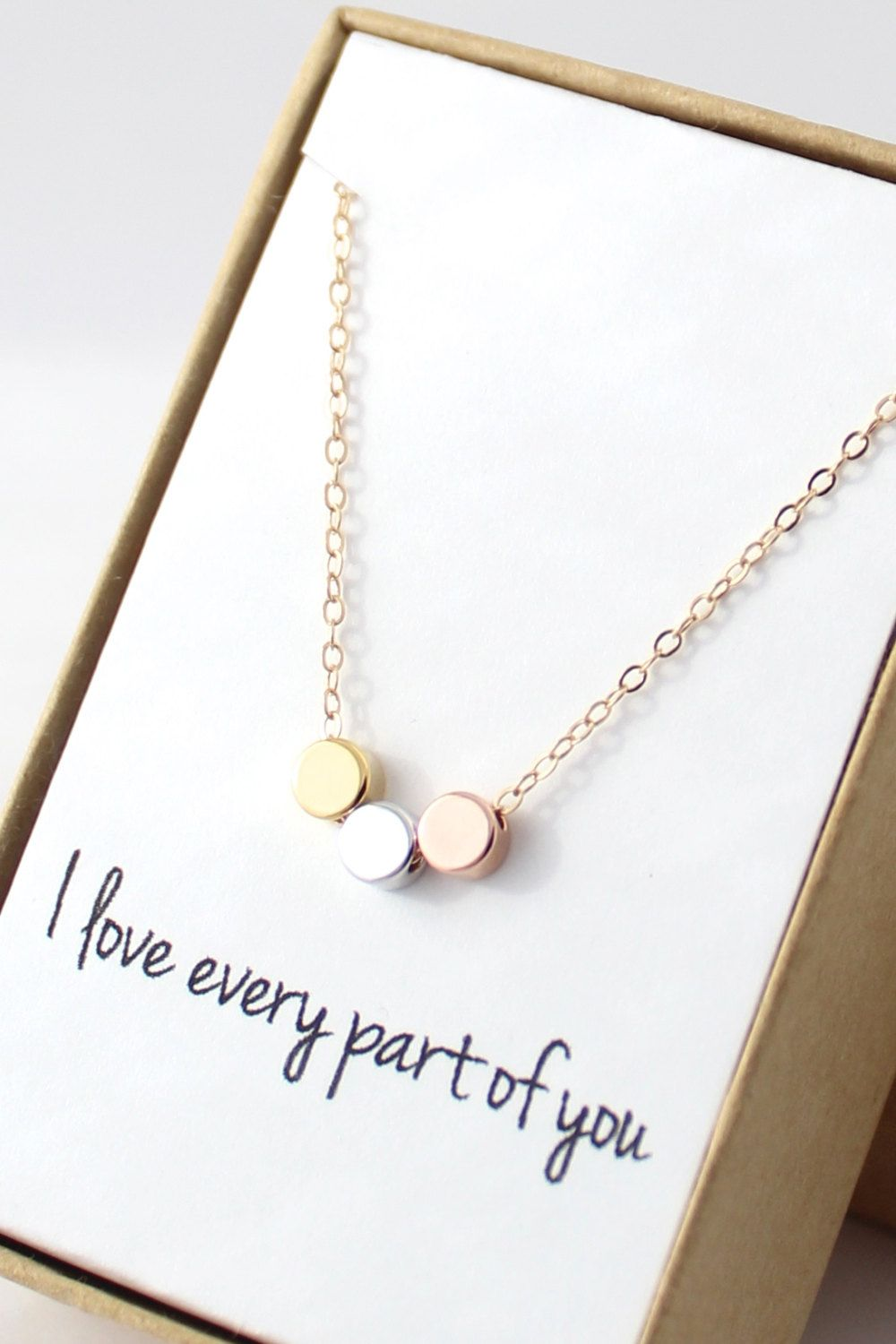 Tiny Circles Necklace  Simple Modern Necklace  by powderandjade, $30.00