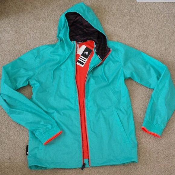 4037d2e0a7 SALE NWT Adidas windbreaker jacket NWT Adidas windbreaker jacket light blue  with neon orange lining Size on tag  men s small   women s medium Adidas  Jackets ...