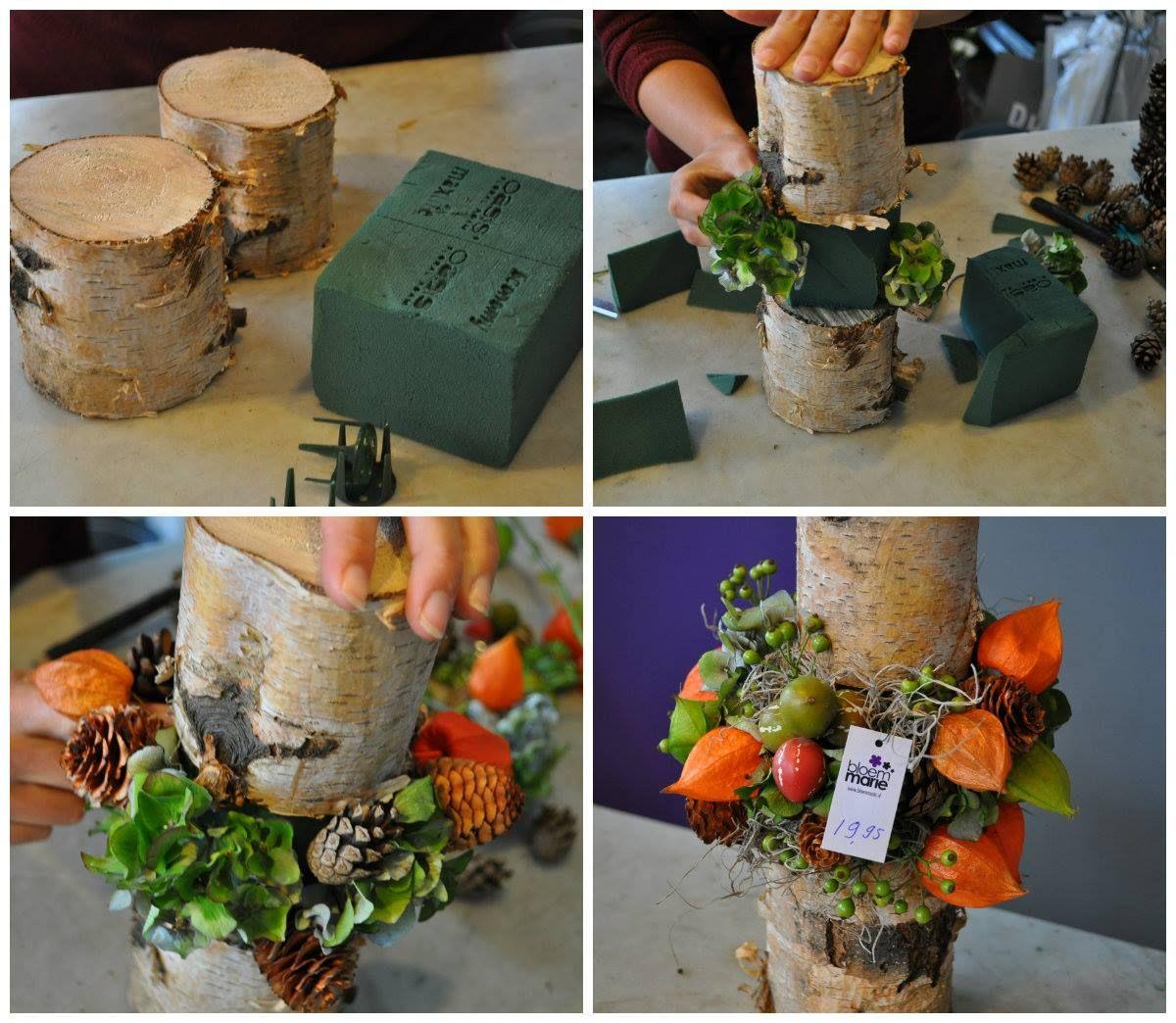 buche de bois avec fleurs au centre compo noel. Black Bedroom Furniture Sets. Home Design Ideas