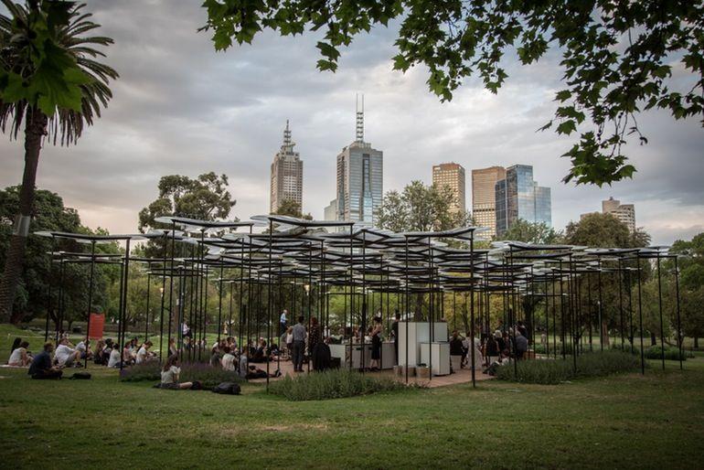 Light  And Sound Emitting Urban Canopy Offers City Folk A High Tech Garden