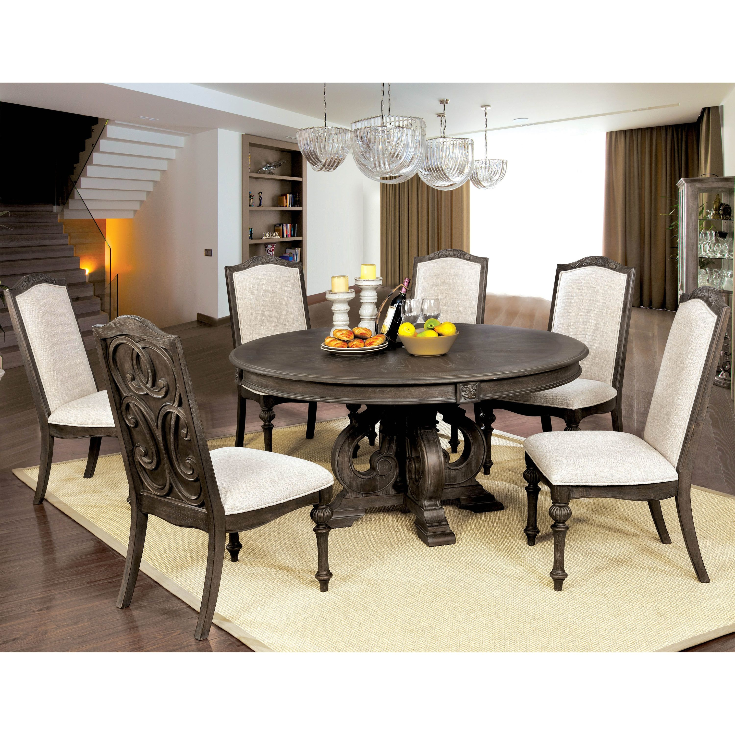 Furniture Of America Kaur Rustic Brown 60 Inch Round Dining Table