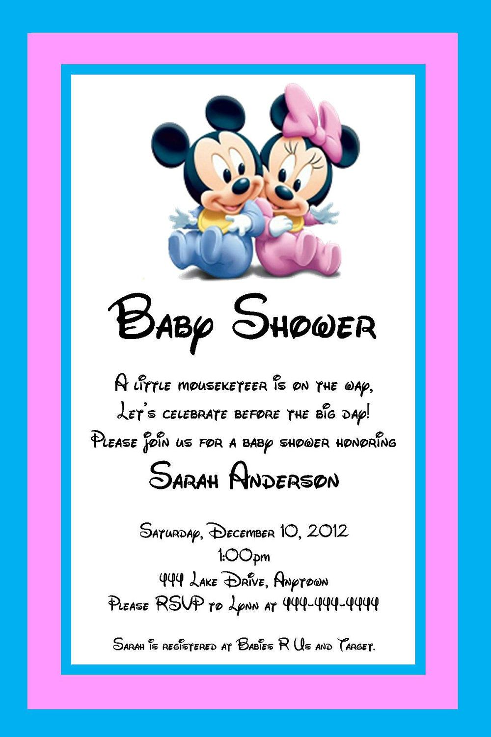 Baby Mickey And Minnie Mouse Shower Invitation Great For Twins Or Unknown Gender You Print 7 00 Via Etsy