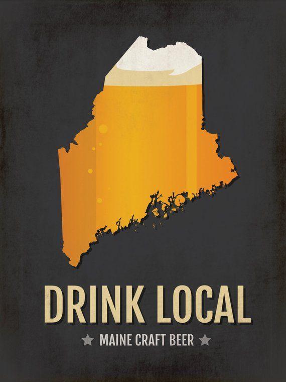 Maine Beer Print Map Me Drink Local Craft Beer Sign Boyfriend