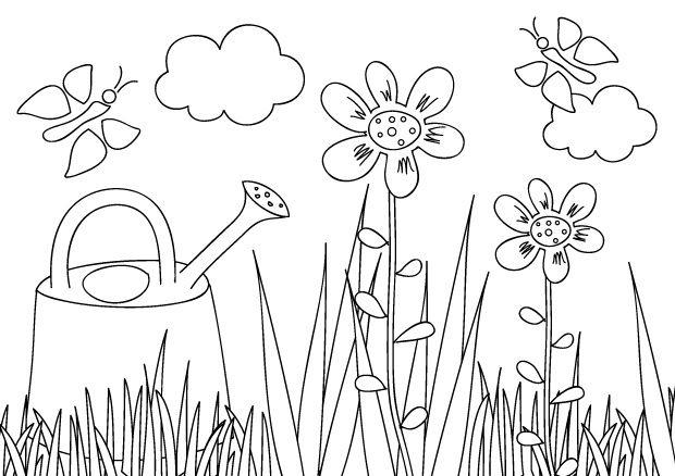 Coloriage Facile Jardinage.Fleur Fleurs Coloriage Fleur Coloriages Fleurs Jardin Coloriage