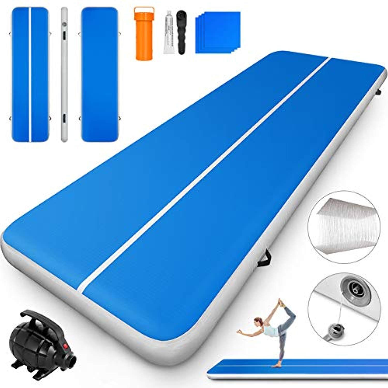 Happybuy Inflatable Gymnastics Tumbling Mat Air Tumbling Track W Electric Pump Air Floor Mat For Home U Gymnastics Tumbling Mat Tumble Mats Tumbling Gymnastics