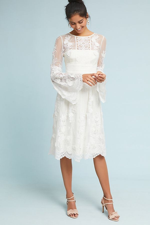 ML Monique Lhuillier Mixed Lace Dress from Anthropologie white bell ...