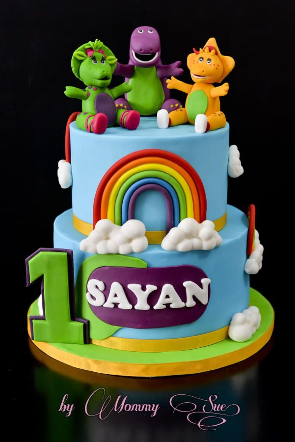 Astonishing Barney And Friends Cake Cake By Mommy Sue Barney Birthday Cake Personalised Birthday Cards Cominlily Jamesorg