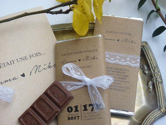 Faire-part mariage petite tablette chocolat
