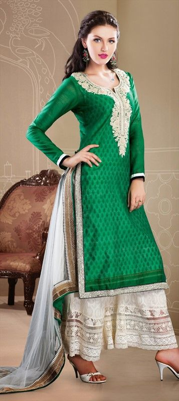 8ceb70914d 410501 Green color family Party Wear Salwar Kameez in Silk, Cotton,  Chanderi fabric with Aari, Resham, Stone work.