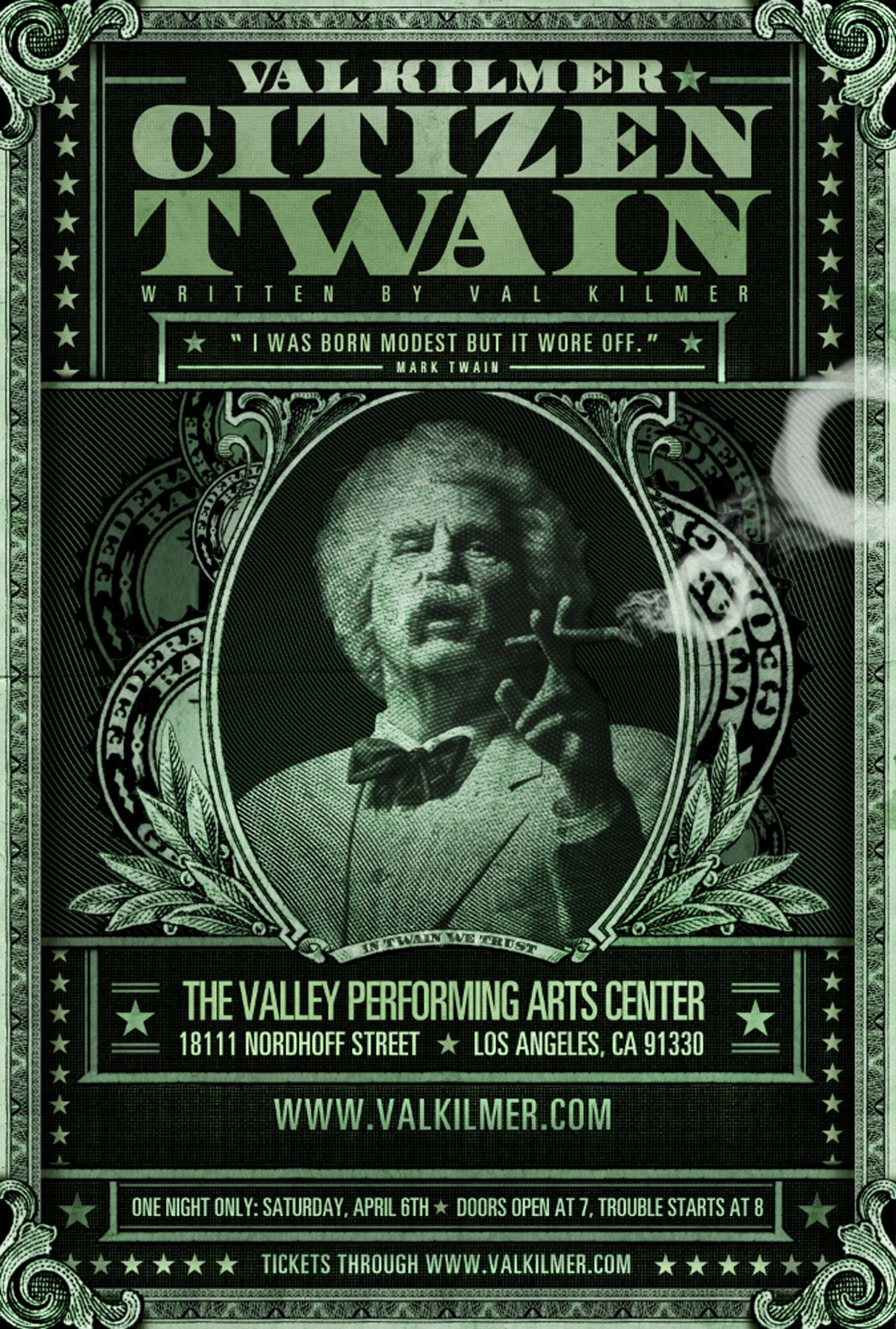 #LAThtr, #twain, $45, Citizen Twain, Events, Highbrow, Humor, Los Angeles, Mark Twain, Solo Performance, Theater, Val Kilmer, Valley Performing Arts Center