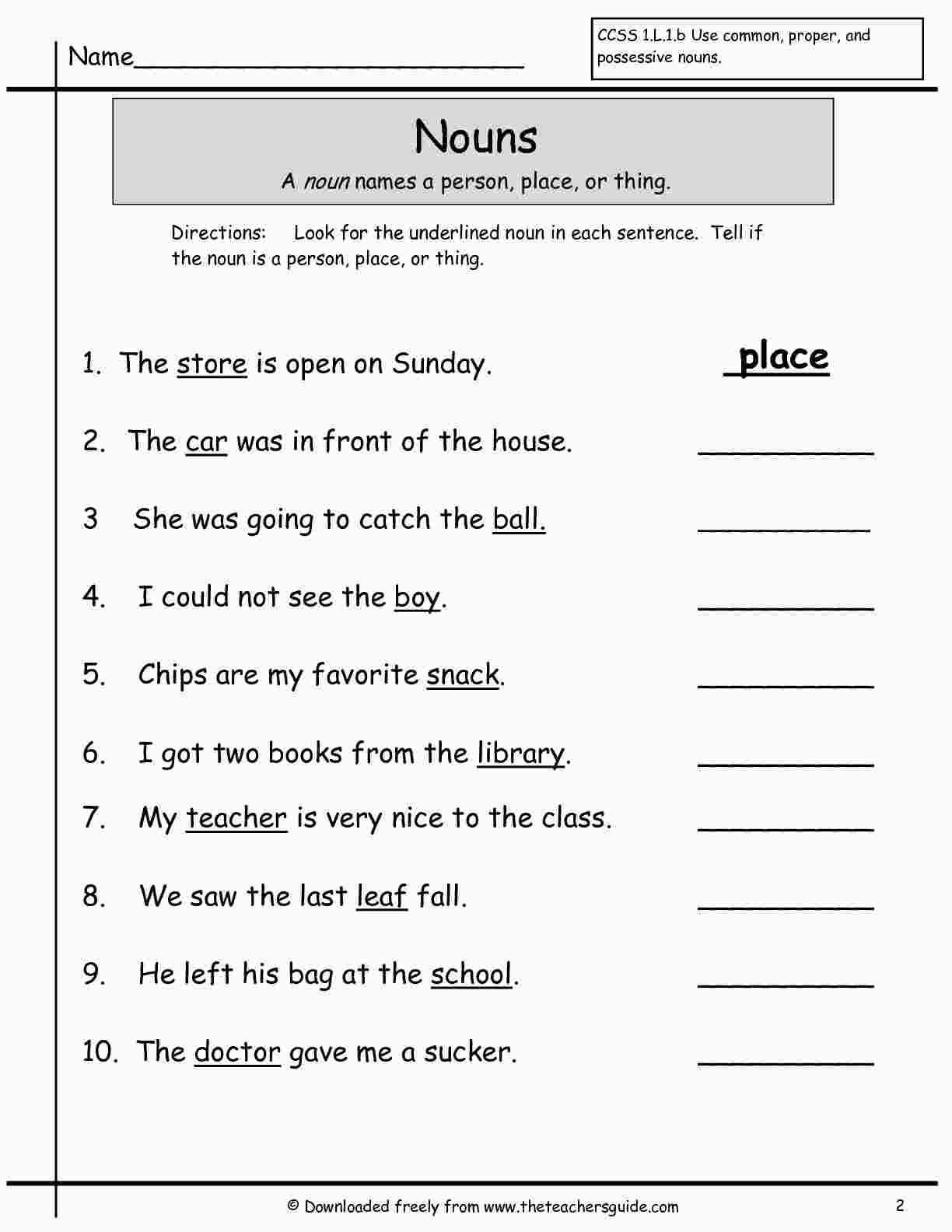 Nouns Worksheet For Grade 1