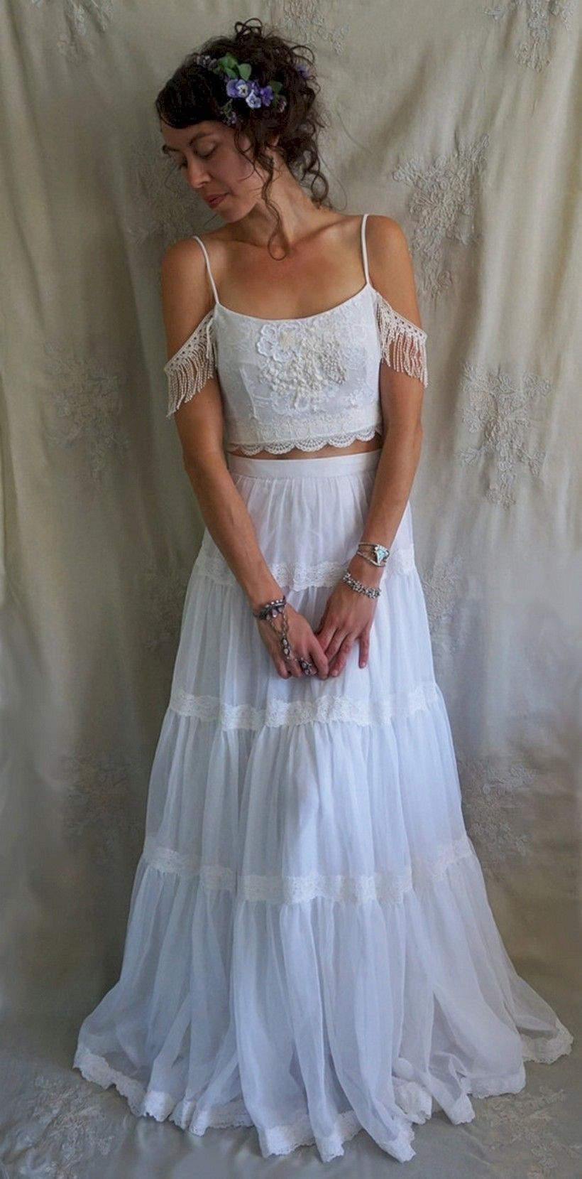Cream colored vintage wedding dresses   Beautiful And Sensual With Two Piece Lace Wedding Dresses Ideas