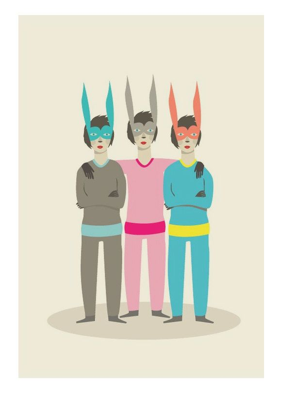 Triplet Rabbits Different Sizes por JudyKaufmann en Etsy