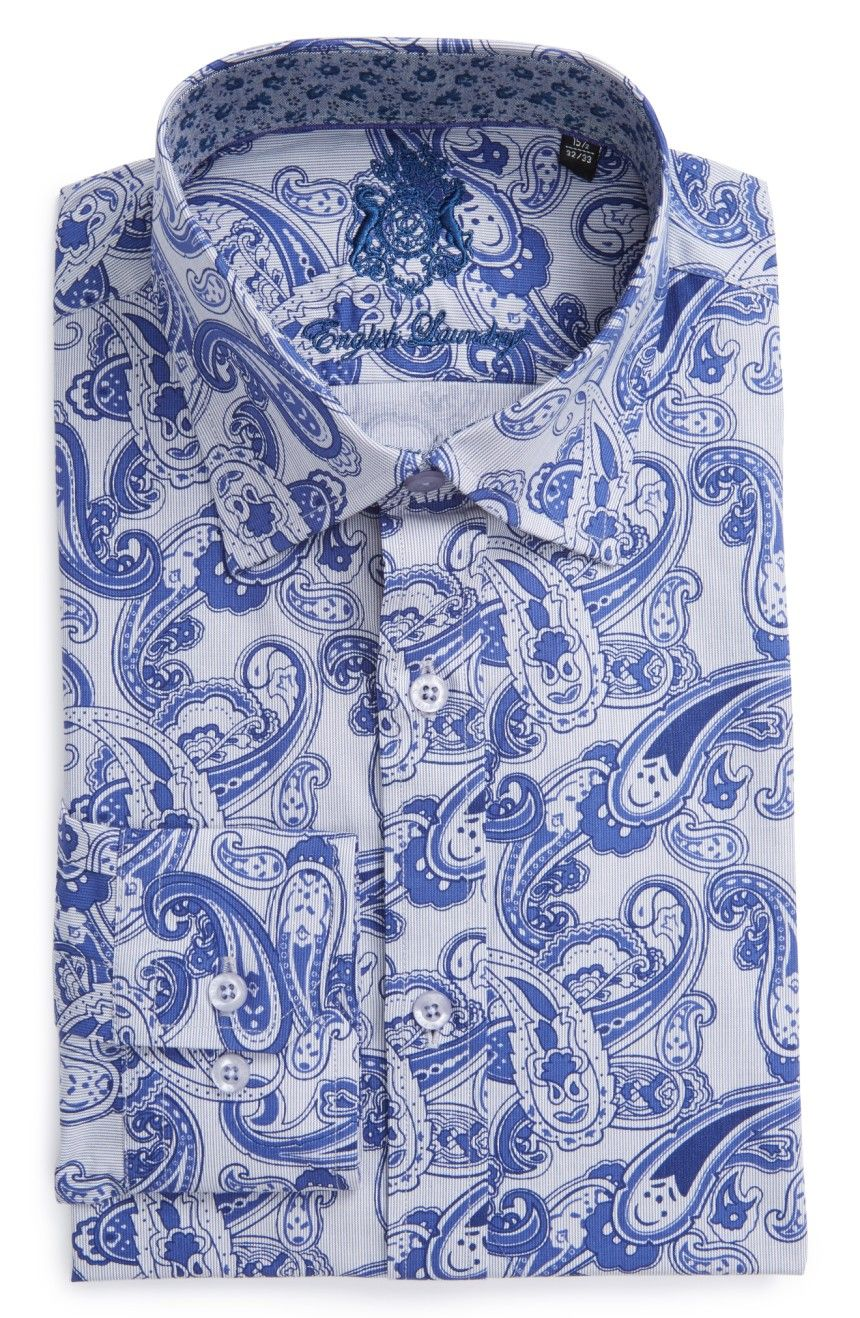 English Laundry Trim Fit Paisley Dress Shirt Mens Paisley Shirts