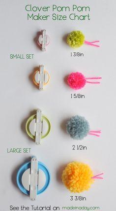 Clover Pom Pom maker tutorial & size chart madeinaday.com