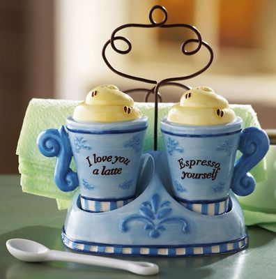 kitchen cannister sets from collections etc | Espresso Coffee Kitchen Salt & Pepper Shaker Set