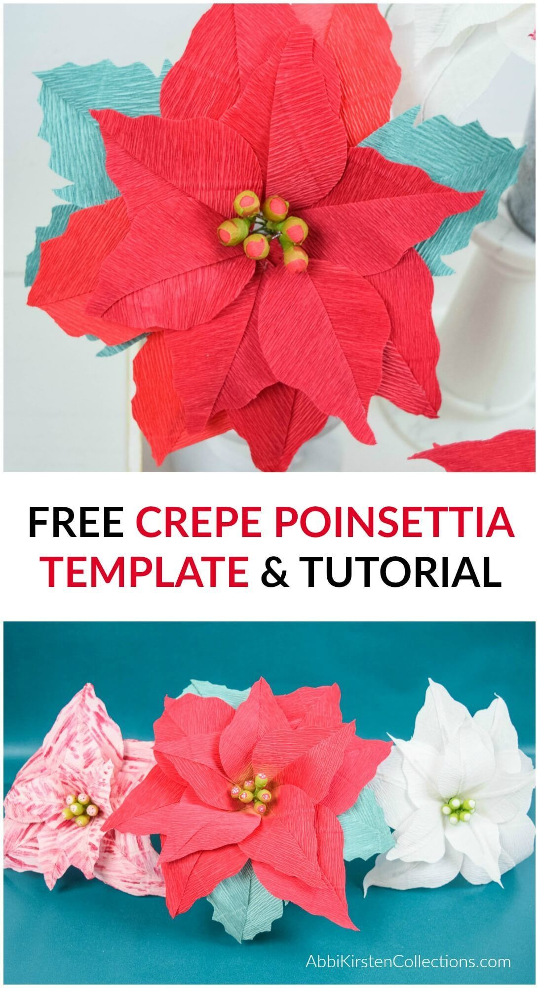 Crepe Paper Poinsettia Flowers Free Poinsettia Template And Tutorial Paper Flower Supplies Paper Flowers Craft Paper Flowers