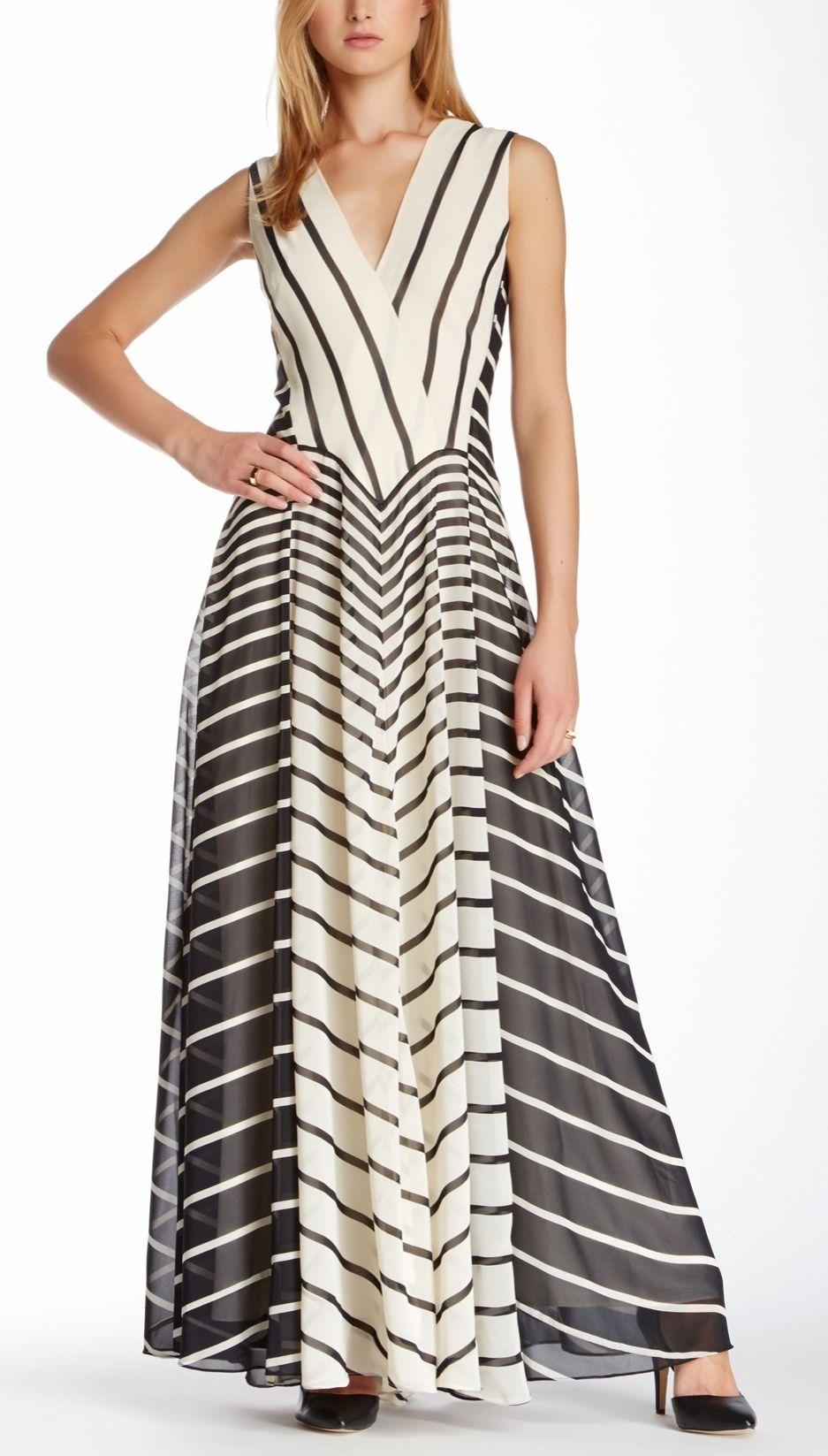 Halston Heritage Striped Evening Gown | Designer Fashion | Pinterest ...