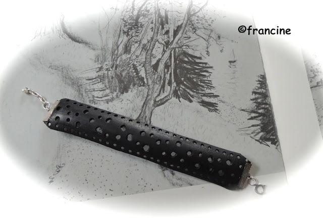 """FRANCINE BRICOLE : Le bracelet """"récup'pneu""""perforés de petits trous"""