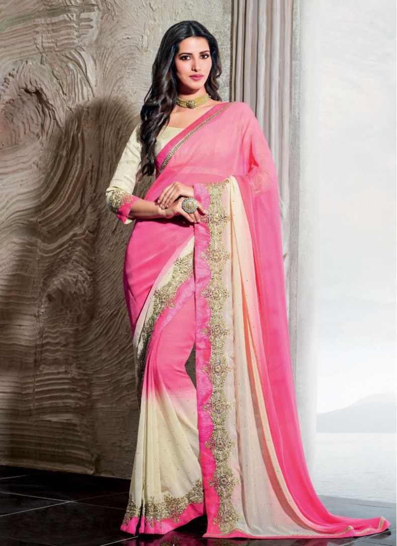 Sparkling Chiffon Lace Cream and Pink Trendy Saree | Sarees | Pinterest