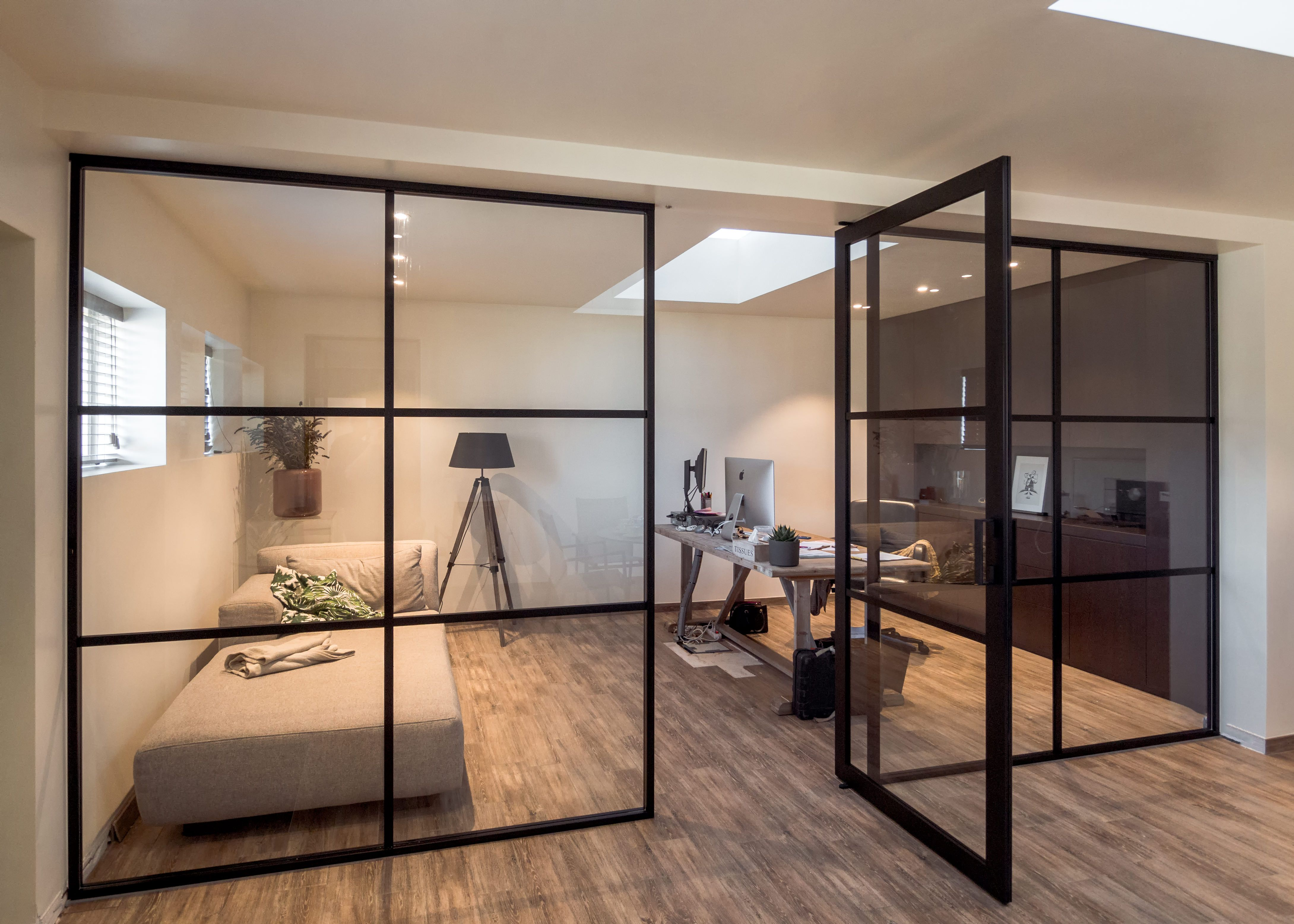 Crittall Style Home Office Setup With Fixed Glass Partitions And A