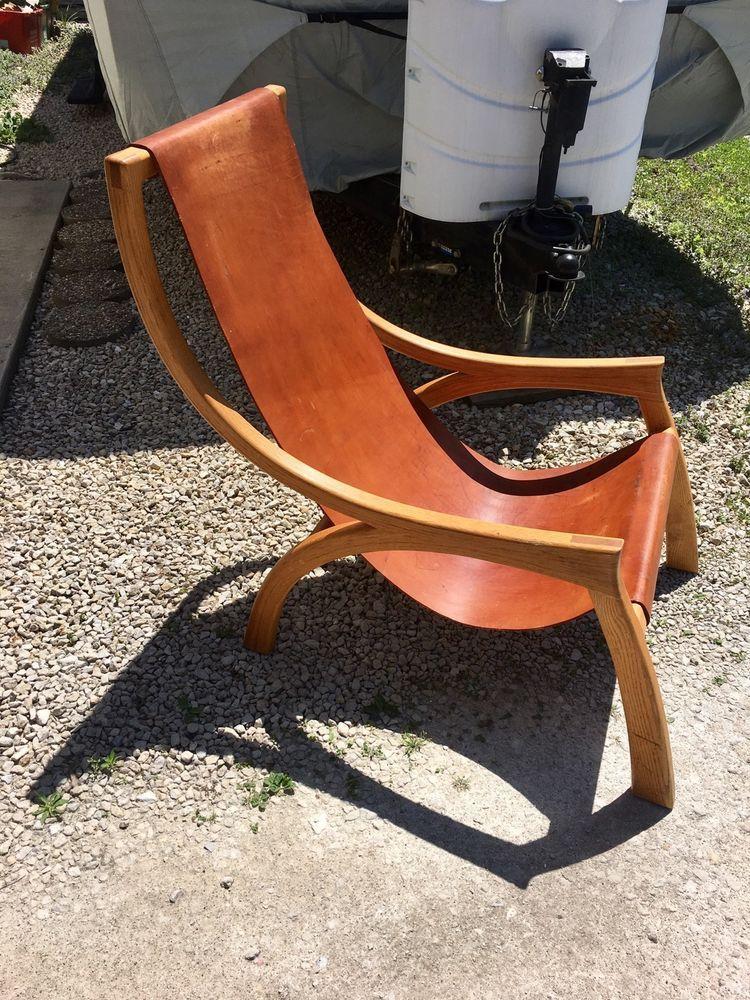 Surprising Vintage Mid Century Don Shoemaker Style Leather Oak Sling Evergreenethics Interior Chair Design Evergreenethicsorg