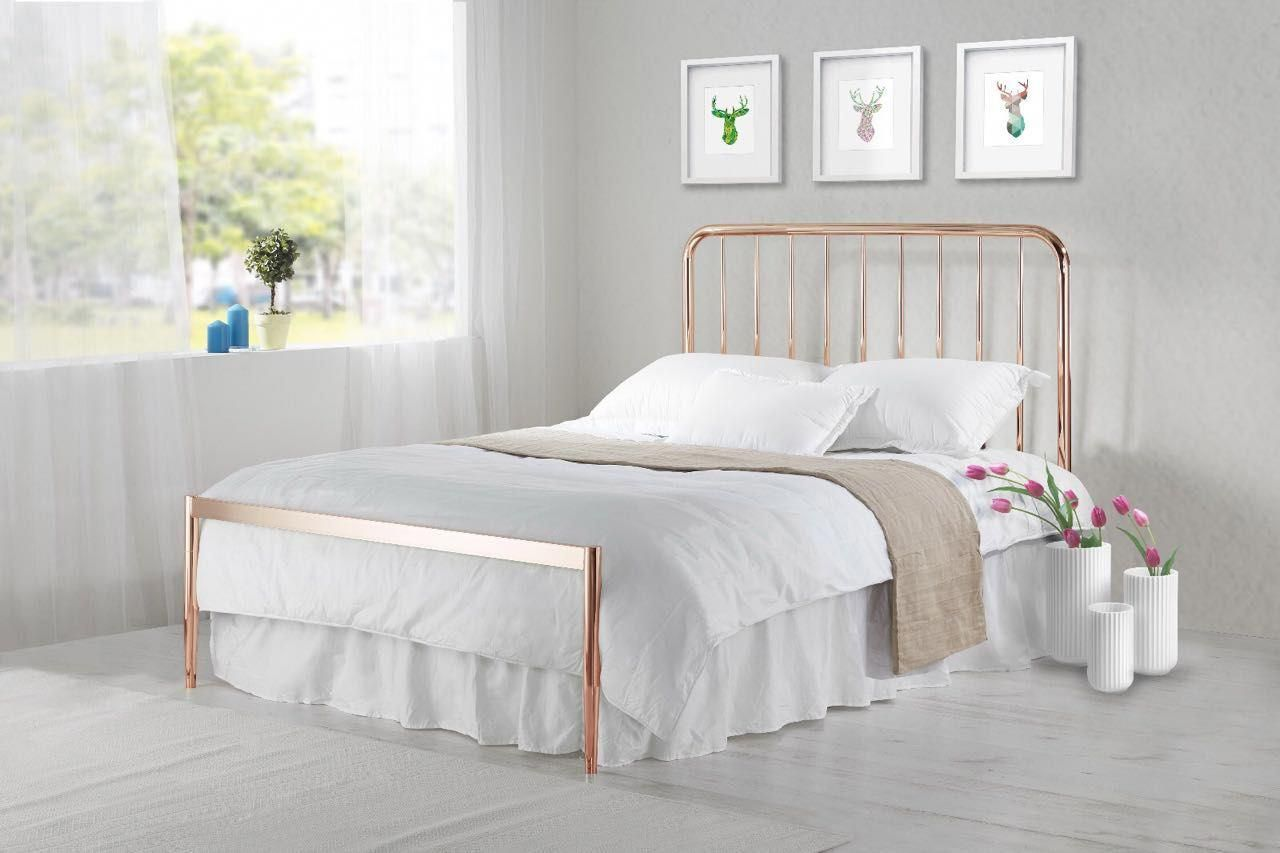 The Simple Elegant Lines Of The Luxury Georgia Rose Gold Bed