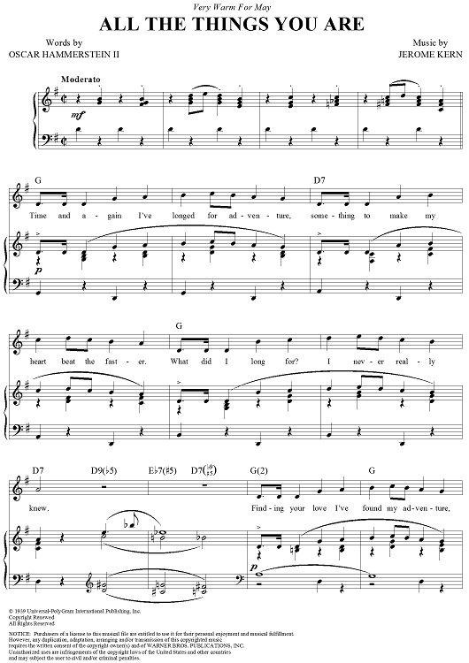 All The Things You Are Sheet Music - For Piano and More - SheetMusicNow.com