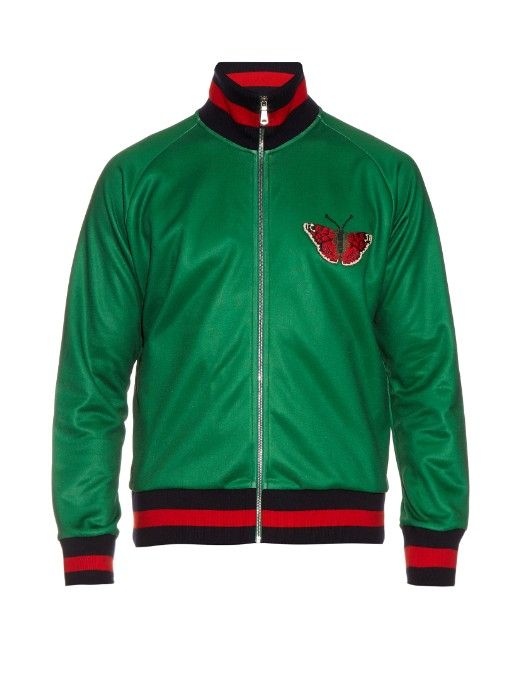 a54a492c670 GUCCI Butterfly-Appliqué And Snake-Print Track Jacket.  gucci  cloth  jacket