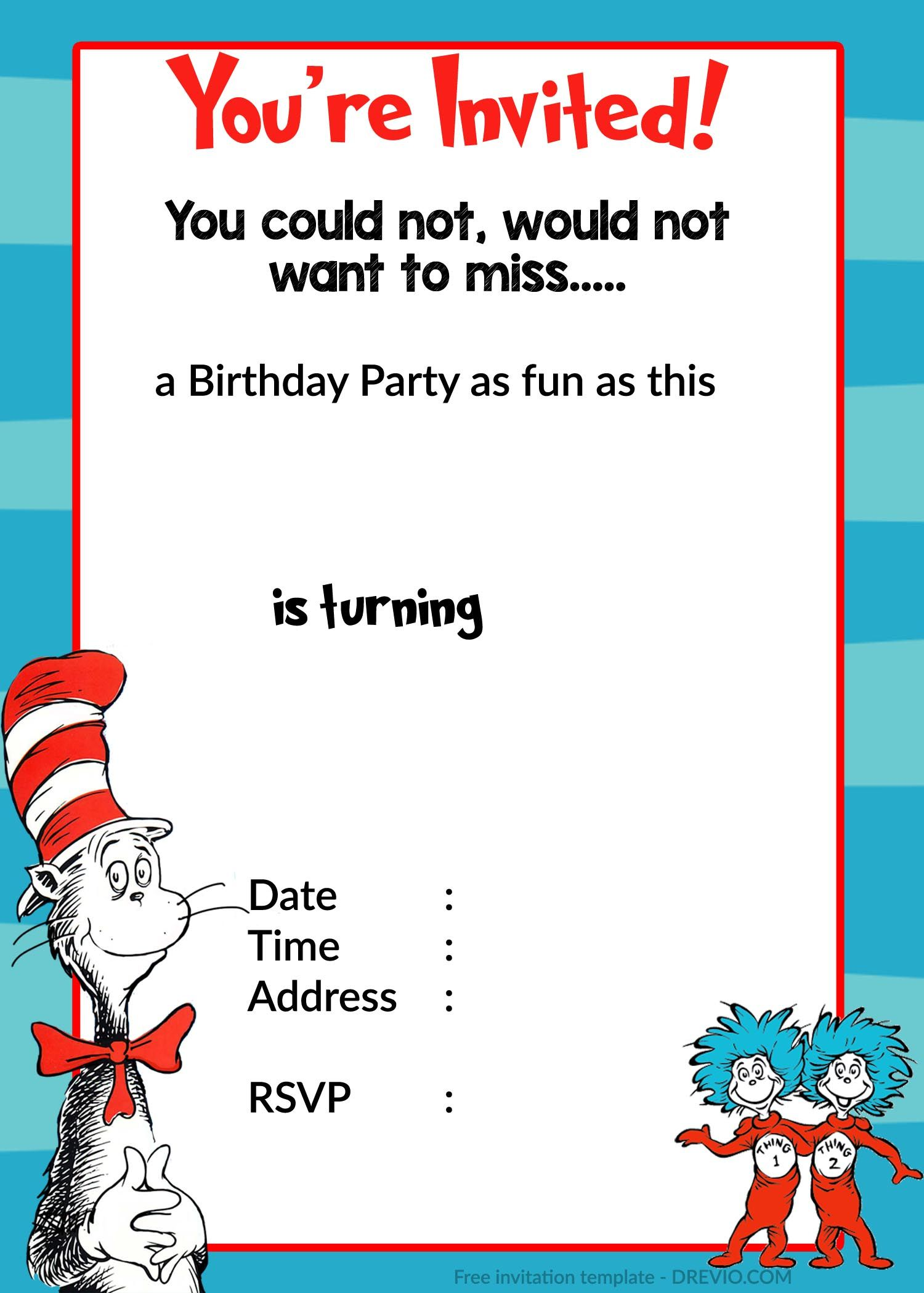 Printable dr. Seuss birthday invitation | Birthday Invitation for ...