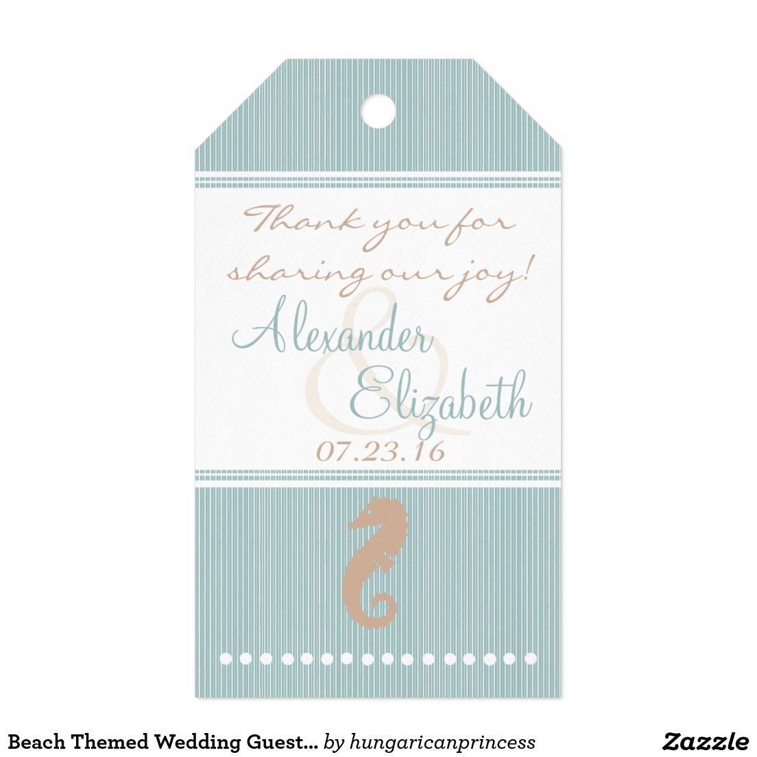 Beach Themed Wedding Guest Favor Thank You- Pack Of Gift Tags ...