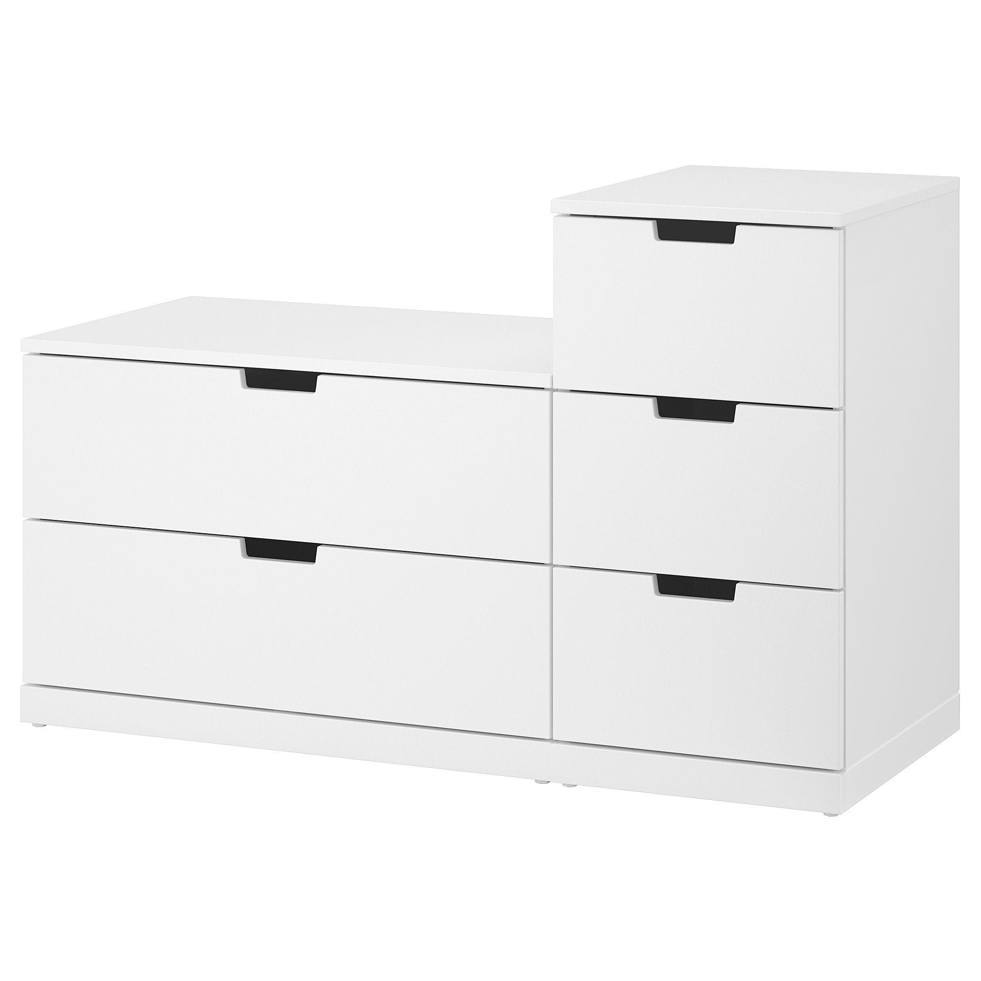 Nordli 5 Drawer Chest White 47 1 4x29 7 8 120x76 Cm Commode 5 Tiroirs Commode Ikea