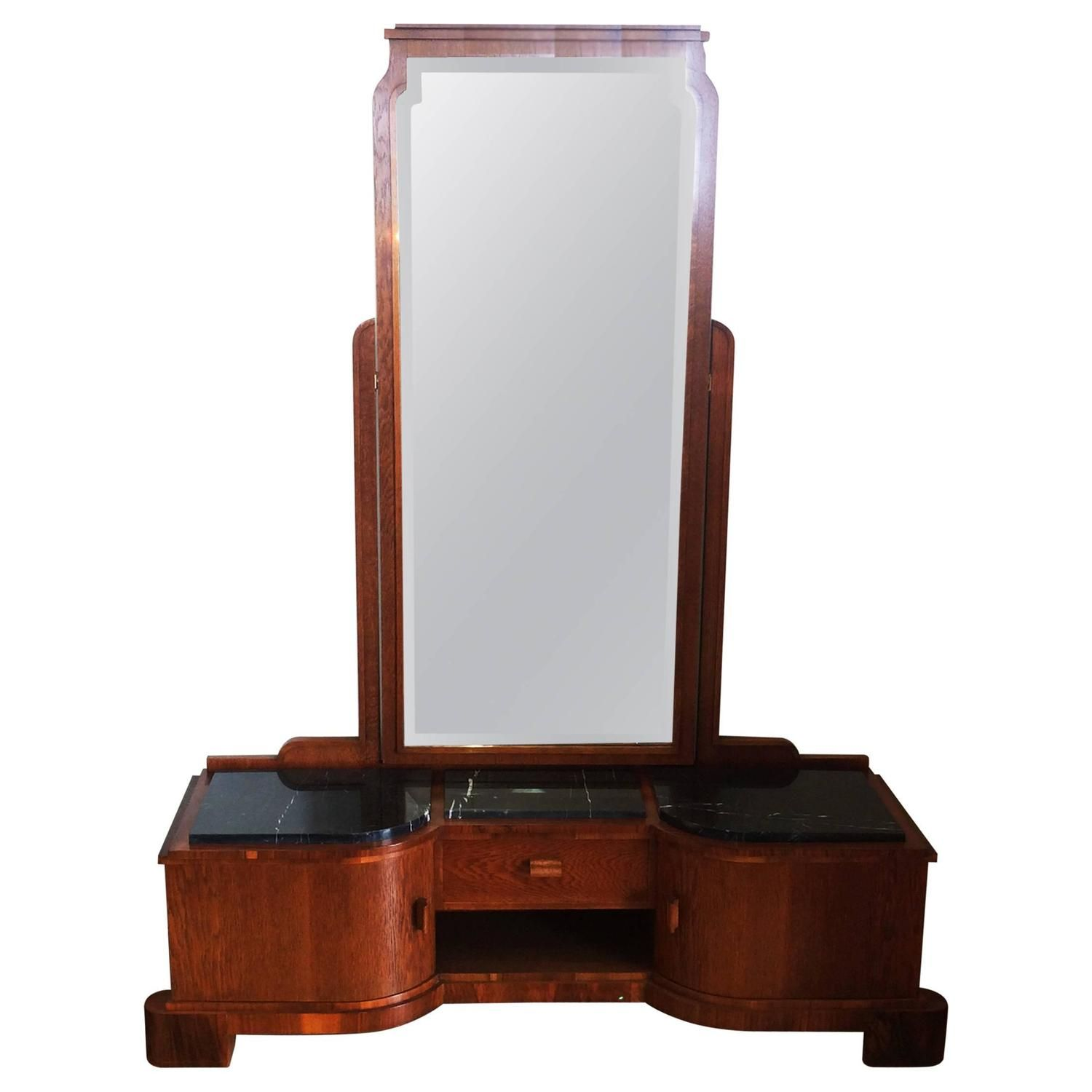 Art Deco German Dressing Table With Full Length Mirror Global
