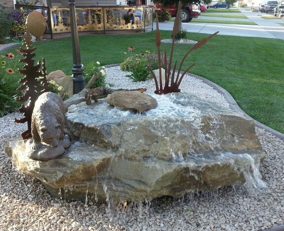 Water feature in our front yard | Water feature ideas | Pinterest | Water features Front yards ...