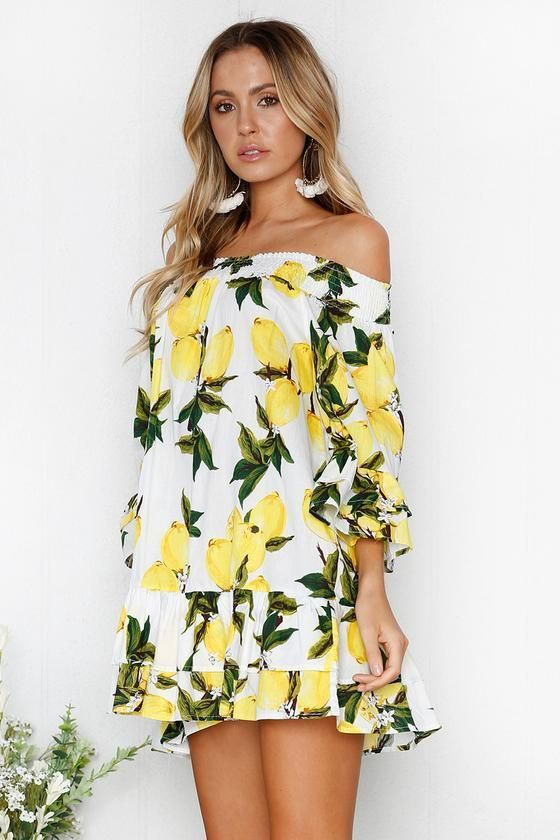 a3230a3cf1a8 Off Shoulder Fruit Print A-Line Dress in 2019 | Products | Lemon ...