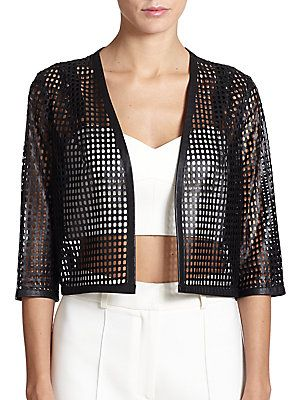MILLY Perforated Leather Jacket