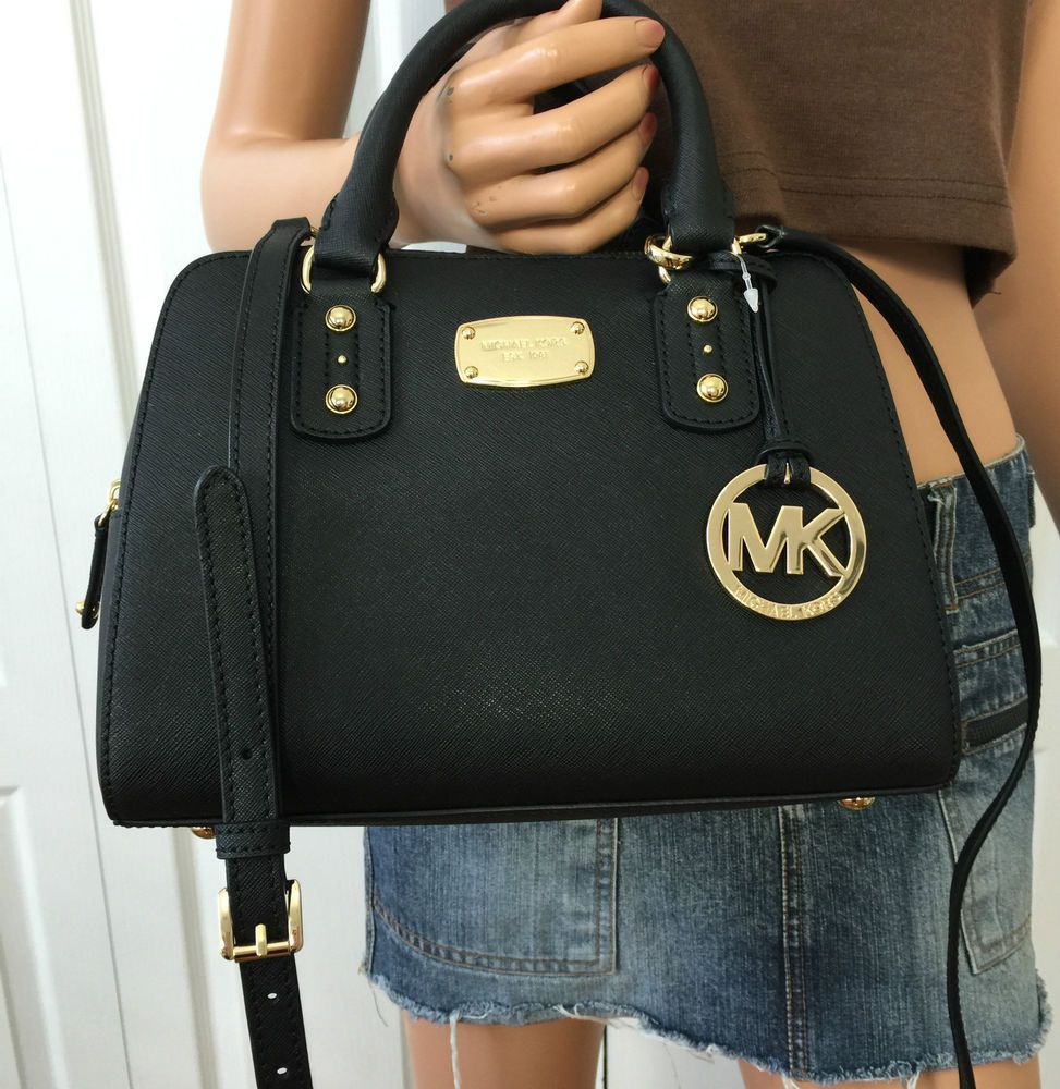 c2fea9f63808 Michael Kors Saffiano Leather Small Satchel MK Signature Crossbody Purse  Black  MichaelKors  ShoulderBag
