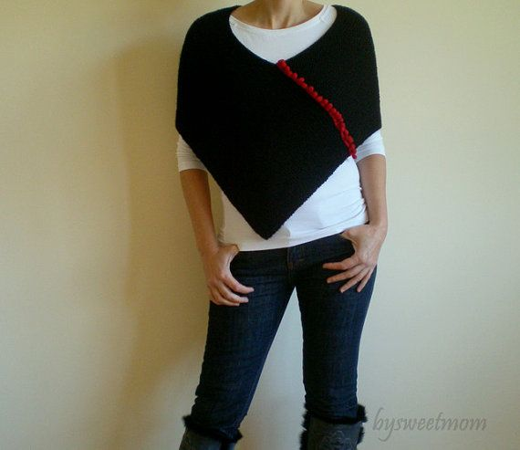 Black Poncho Women Ponco Knitted Shawl Women Shawl by bysweetmom