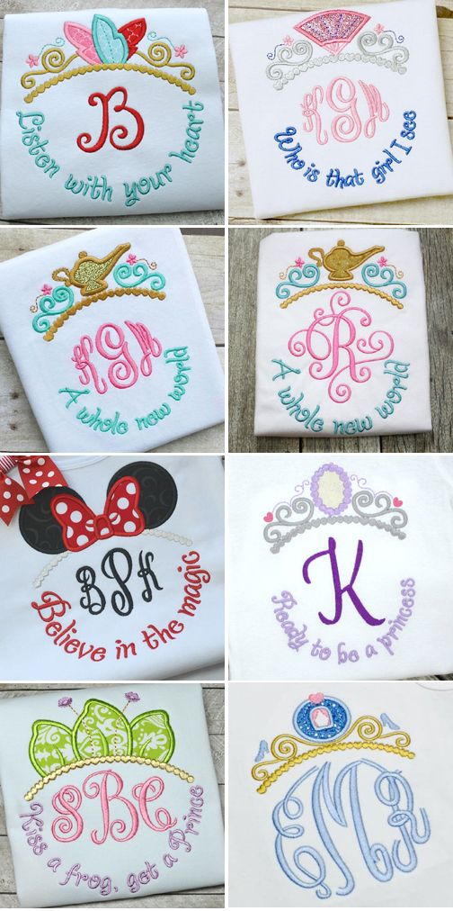 Disney Princess themed tiara applique designs from Hooked On ...