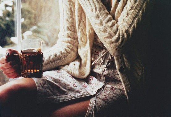 Floral Dress + Sweater {For a lovely, relaxing day with tea in hand...}