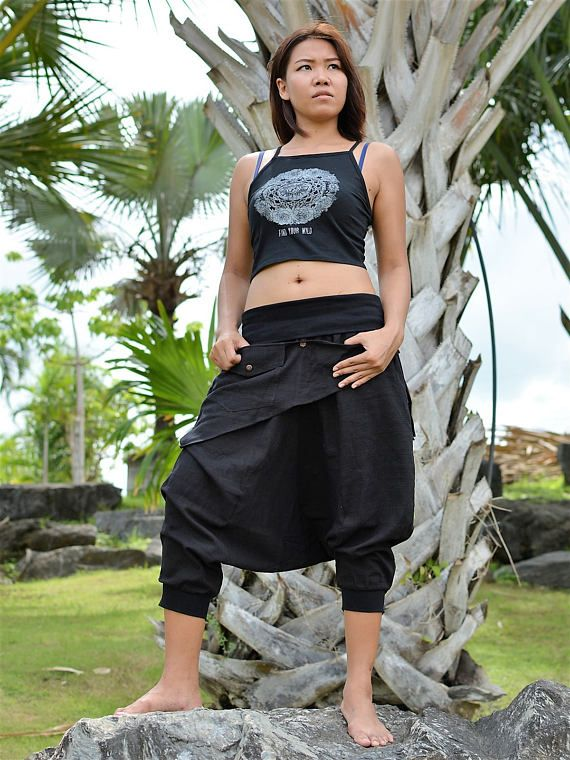 Harem pants women men, drop crotch pants, Ninja pants, Boho Hippie pants, handmade from cotton