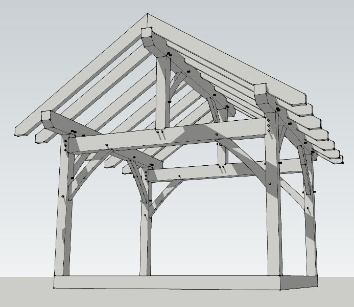 12x14 Timber Frame Plan Timber Frame Hq Timber Frame Plans Timber Framing Timber Frame Pergola Plans
