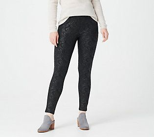 These sassy leggings feature an embossed print that will certainly accent a host of tunics and tops. From Women with Control®.