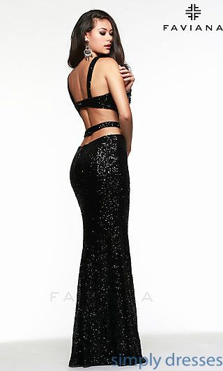 Long Open Back Sequin Formal Gown by Faviana 7509 at SimplyDresses.com