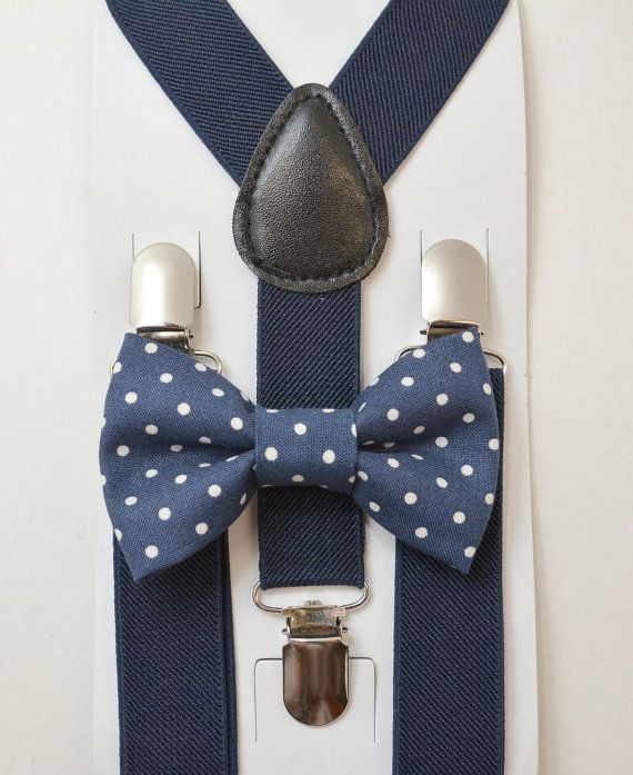 06fa6ea12ee0 Kids Children Toddler Baby Boys Boy Navy Blue Suspenders & Navy Polka Dot  Cotton clip on / pre-tied bowtie bow tie 8 months- ADULT SET