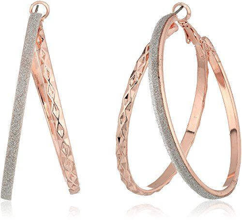 14k Rose Gold Light Weight Satin Finish 2mm Diamond Cut Hoop Earrings 15mm