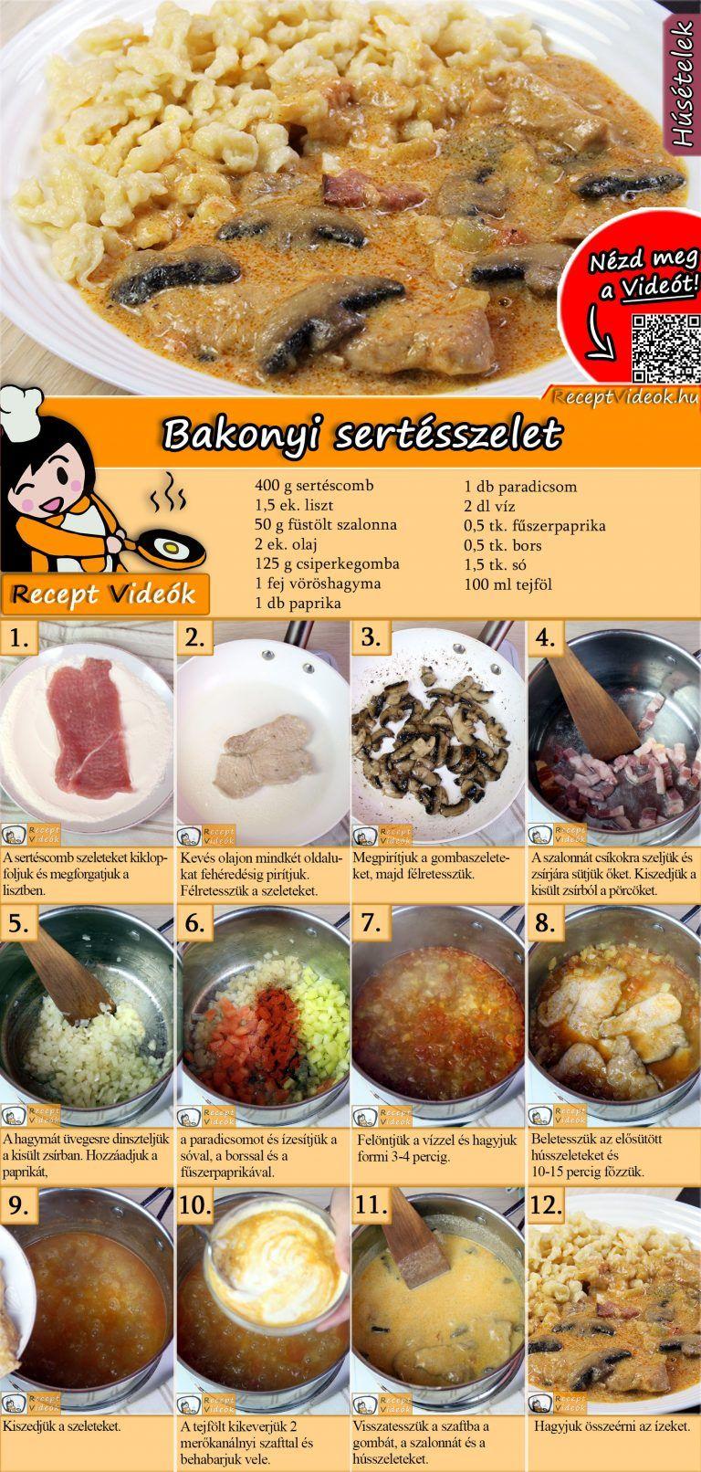 Bakonyi sertésszelet is part of Cooking recipes -  NÉZD MEG A VIDEÓNKAT és készítsd el a receptet! A bakonyi sertésszelet egy ízletes, laktató fogás, amit mindenkinek érdemes elkészíteni, aki szereti az omlós húst egy finom mártással!  Készíts saját szakácskönyvet receptkártyáinkkal! 😉 Töltsd le, nyomtasd ki!