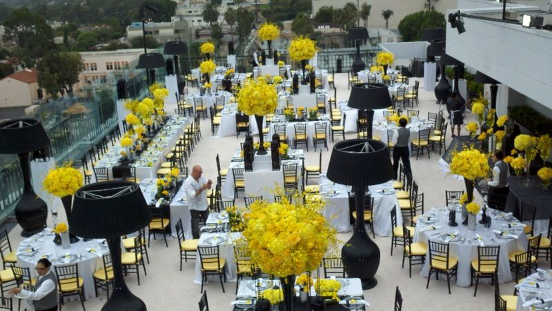 Yellow And Black Rooftop West Wedding At The London Hotel In Los Angeles California