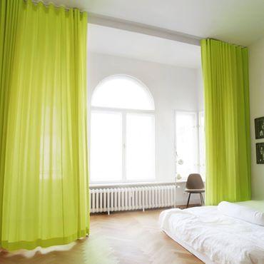 Gardinen Aufhängen Hilfe bodenlanger vorhang aus stoff adele mit schiene linus