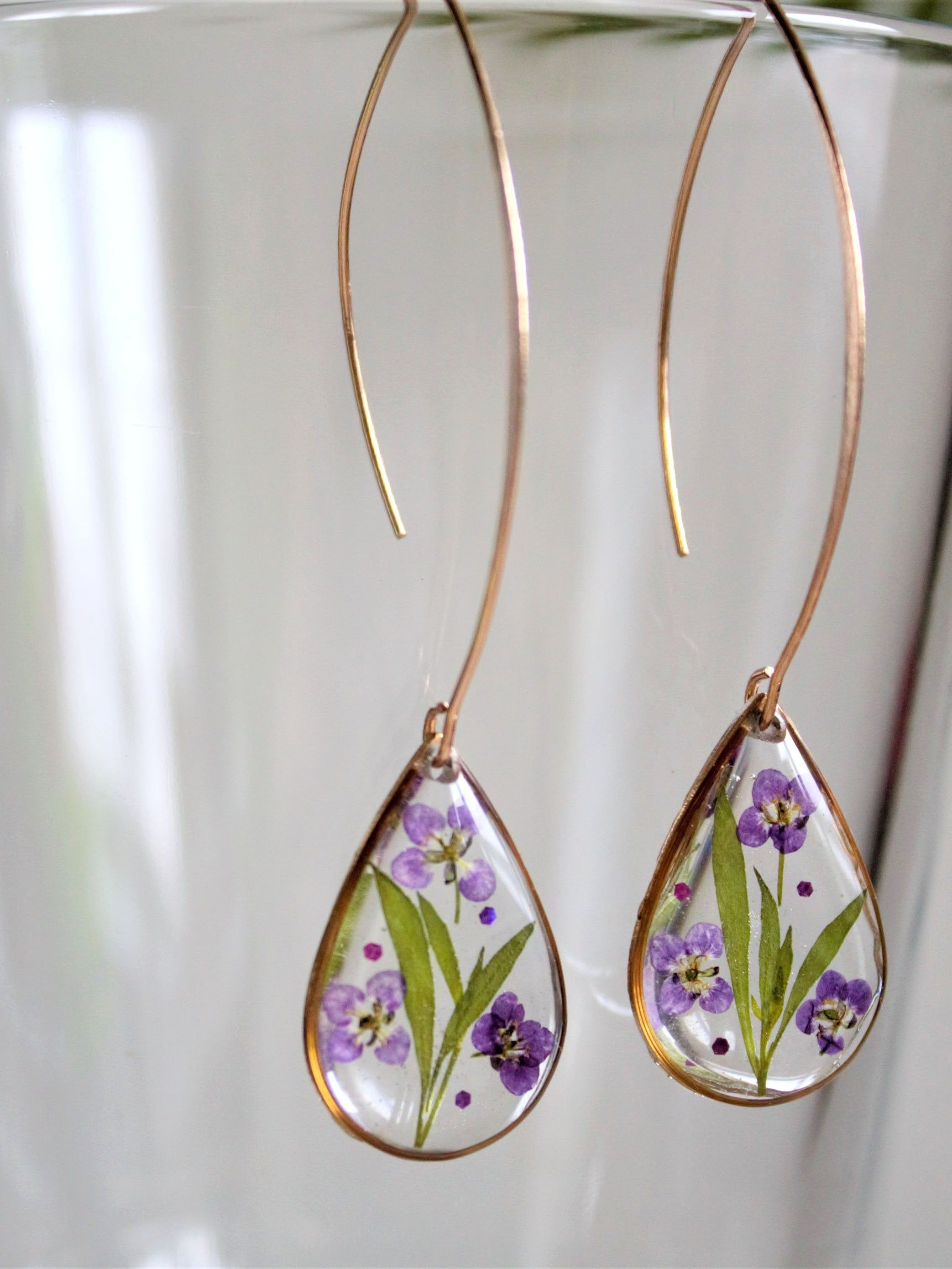 Photo of Real Pressed Flowers Earrings.Dried Flowers Art Boho Jewellery.Dry Purple Alyssum in Resin.Botanical jewelry.Graduation Gift. Gift for her